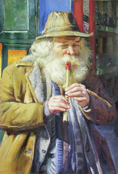 Busker Wall Art - Painting - The Tin Whistle by Conor McGuire