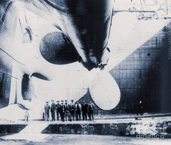 Dry Dock Photograph - The Titanic's Propeller In The Thompson Graving Dock Of Harland And Wolff, Belfast by English School