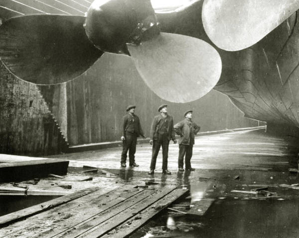 Dry Dock Photograph - The Titanic's Propellers In The Thompson Graving Dock In Belfast by English School