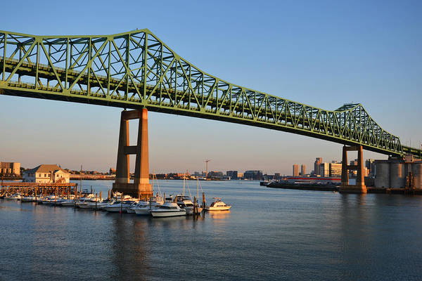 The Tobin Bridge Into The Sunset Chelsea Yacht Club Art Print