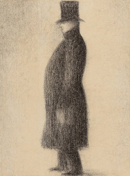 Crayon Drawing - The Top Hat by Georges Pierre Seurat