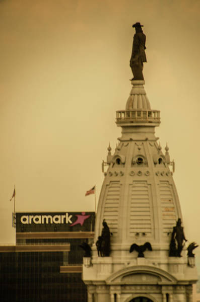 Photograph - The Top Of City Hall In Sepia - Philadelphia by Bill Cannon