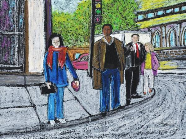 Montreal Street Scene Painting - The Tourist by Reb Frost