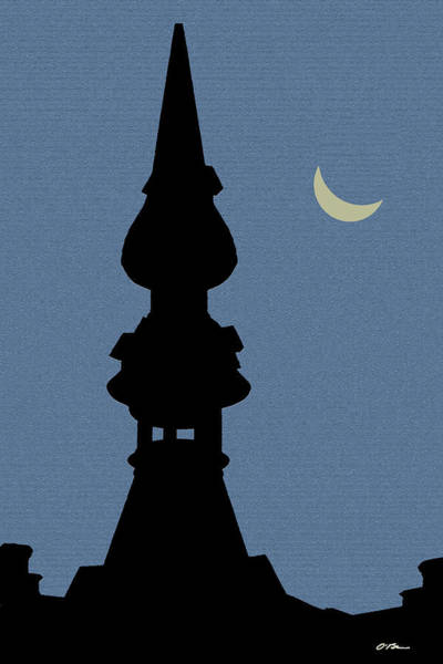 Belgium Mixed Media - The Tower And The Moon by Claudia O\'Brien