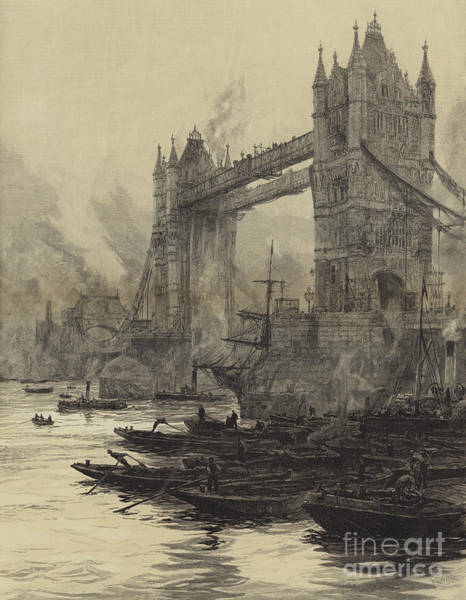 Wall Art - Drawing - The Tower Bridge, With The Drawbridges Raised For The Passage Of Large Ships by William Lionel Wyllie