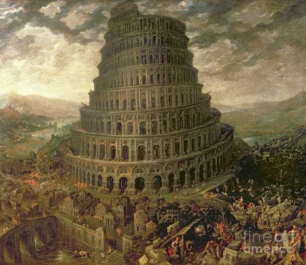 Tall Buildings Painting - The Tower Of Babel by Tobias Verhaecht
