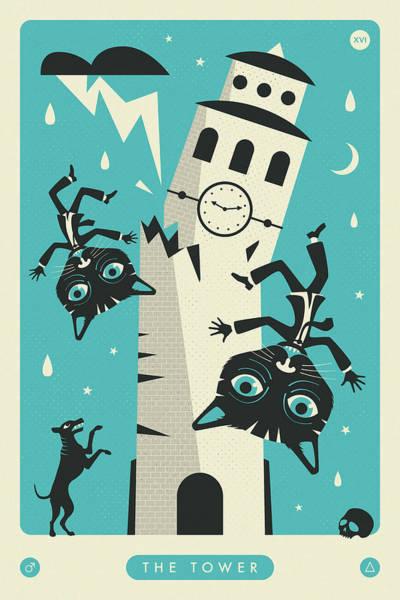 Occult Wall Art - Digital Art - The Tower Tarot Card Cat by Jazzberry Blue