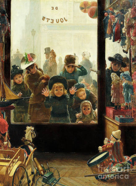 Wall Art - Painting - The Toyshop Window by Timoleon Marie Lobrichon