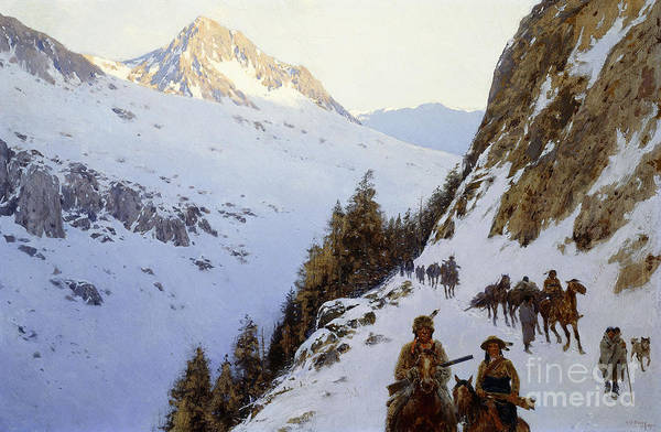 Wall Art - Painting - The Trail Over The Pass, 1910 by Henry Francois Farny