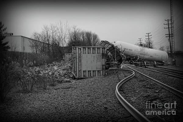 Train Derailment Photograph - The Train Wreck In Black And White by Paul Ward