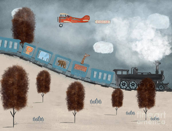Trains Painting - The Traveling Circus by Bri Buckley