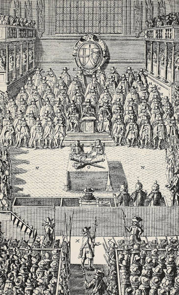Royal Court Drawing - The Trial Of Charles I by English School