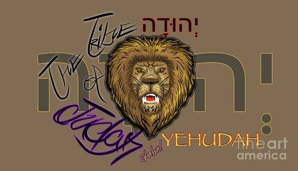 Drawing - The Tribe Of Judah Hebrew by Robert Watson