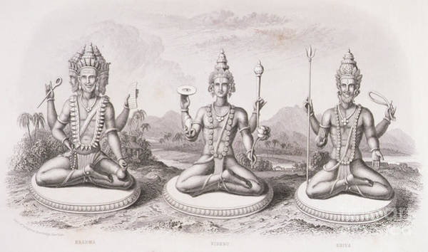 Wall Art - Drawing - The Trimurti Or Hindu Trinity by English School