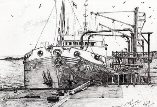 Pier Drawing - The Trinity  Port Ellen  Isle Of Islay by Vincent Alexander Booth