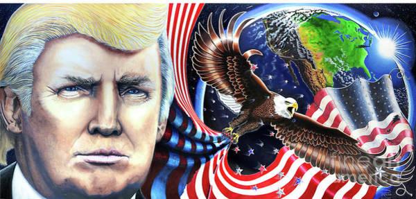 Unafraid Painting - President Donald Trump Fine Art Painting Print Canvas Portrait Election Patriotic  by Julian Raven