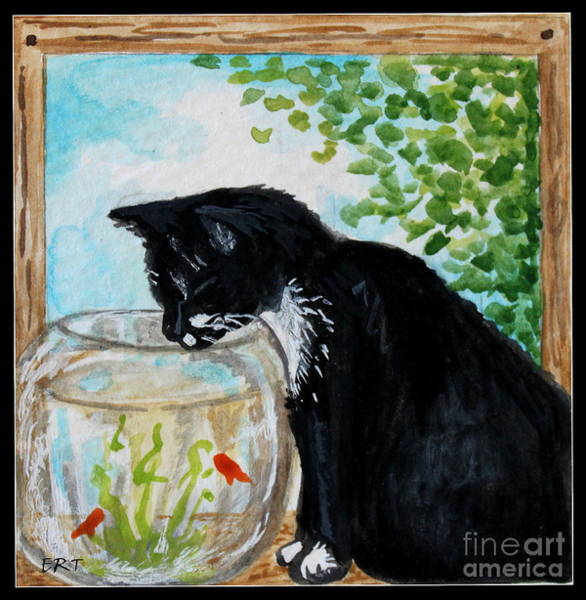 Painting - The Tuxedo Cat And The Fish Bowl by Elizabeth Robinette Tyndall