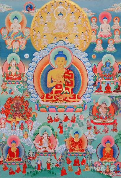 Dzogchen Painting - The Twelve Primordial Teachers Of Dzogchen - Tonpa Chu Ni by Sergey Noskov
