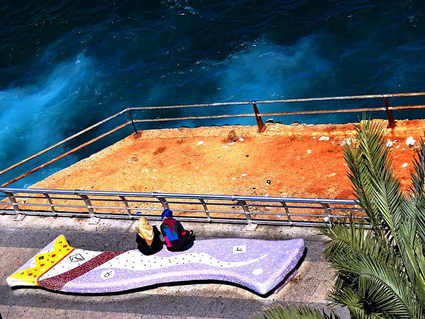 Arte Photograph - The Two Ladies And The Sea In Beirut by Funkpix Photo Hunter