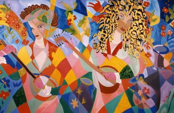 The Two Women Musicians Art Print