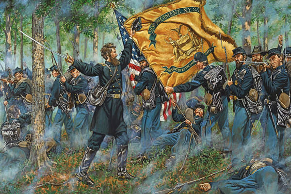 Wall Art - Painting - The Ulster Guard - The 20th New York Militia - 80th N.y. Infantry - Battle Of Second Manassas by Mark Maritato
