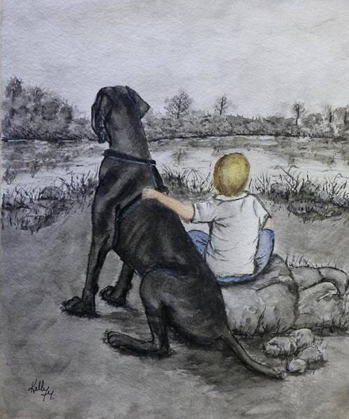 Black Great Dane Painting - The Ultimate Best Friend by Kelly Mills