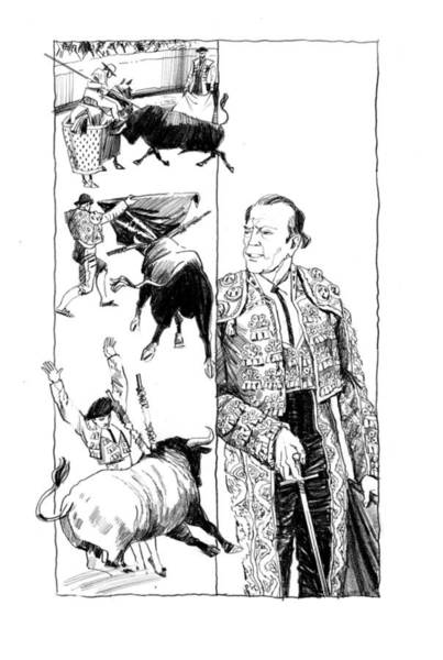 Drawing - The Undefeated. Ernest Hamingway. Illustration by Igor Sakurov