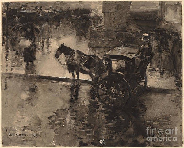 Wall Art - Drawing - The Up-tide On The Avenue by Childe Hassam