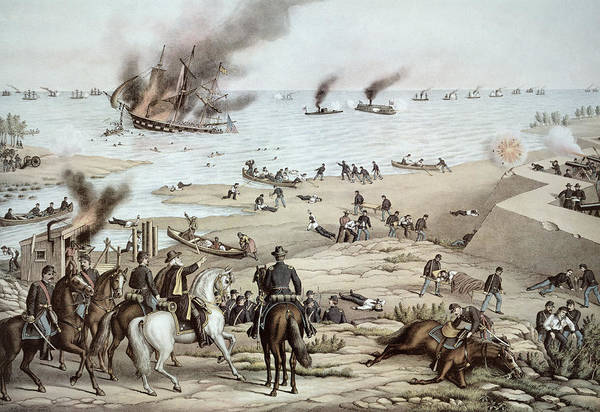 Cannon Beach Painting - The Uss Monitor Fighting The Css Merrimack At The Battle Of Hampton Broads by American School