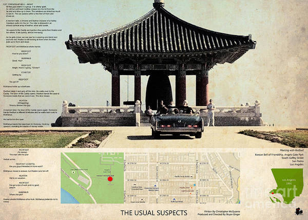 Horror Film Painting - The Usual Suspects Film Location, Korean Bell Of Friendship, Angels Gate Park  by Drawspots Illustrations
