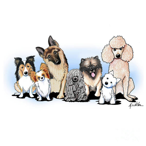 German Shepherd Drawing - The Usual Suspects 3 by Kim Niles