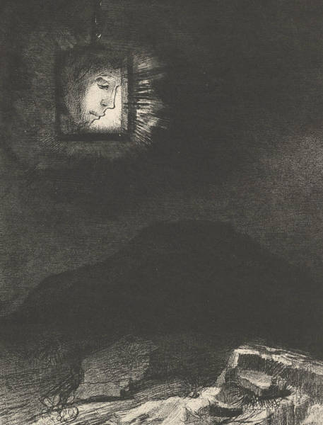 Relief - The Vague Glimmer Of A Head Suspended In Space by Odilon Redon