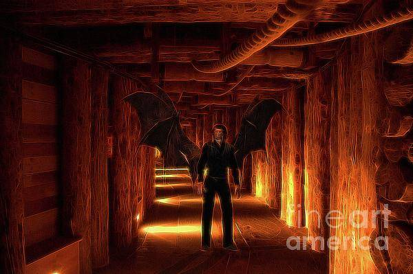 Satan Digital Art - The Vampire Tunnel by Raphael Terra