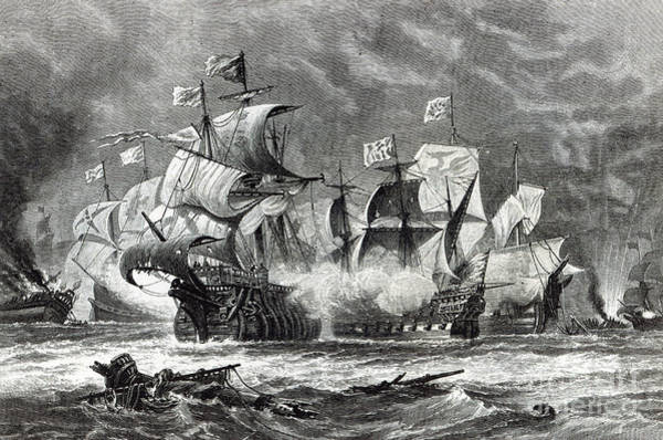 Galleons Wall Art - Drawing - The Vanguard by Oswald Walters Brierly