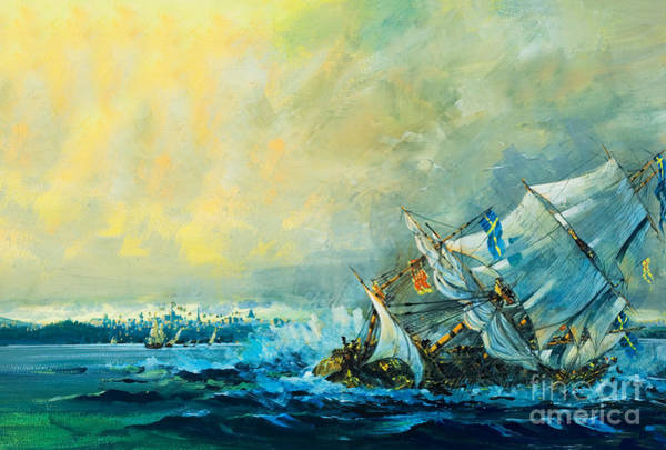 Wall Art - Painting - The Vasa Sinks by English School