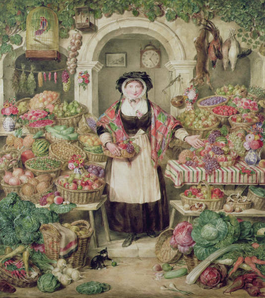 Fruit Stand Wall Art - Painting - The Vegetable Stall  by Thomas Frank Heaphy