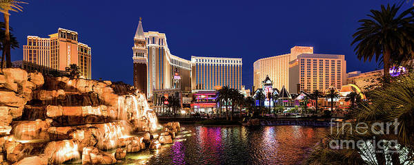 Harrahs Photograph - The Venetian Palazzo And Harrahs Casinos  In Front Of The Mirage Lagoon At Dusk  by Aloha Art