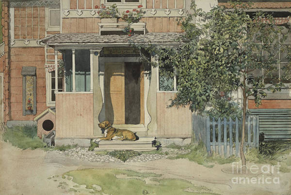Trough Wall Art - Painting - The Verandah, From A Home Series by Carl Larsson