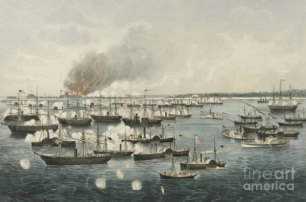 Battle Of The Atlantic Wall Art - Painting - The Victorious Attack On Fort Fisher, 1865 by Currier and Ives