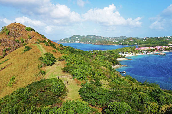 Saint Lucia Photograph - The View From Fort Rodney On Pigeon Island Gros Islet Blue Water by Toby McGuire