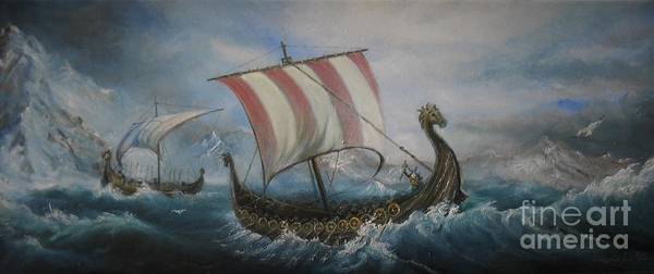 Painting - The Vikings by Sorin Apostolescu
