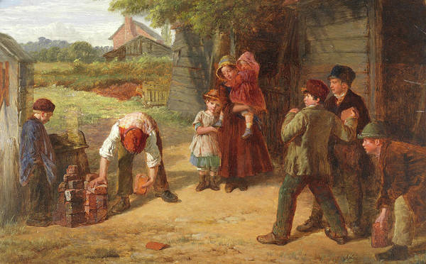 Family Time Wall Art - Painting - The Village Game by William Henry Knight