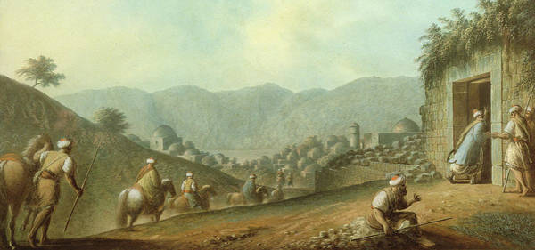 The Blue Rider Wall Art - Painting - The Village Of Betania With A View Of The Dead Sea by Luigi Mayer