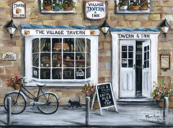 Wall Art - Painting - English Tavern And Inn by Marilyn Dunlap