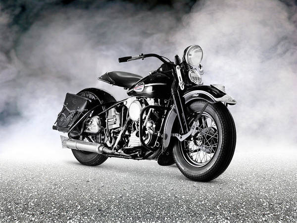 Harley Davidson Black And White Wall Art - Photograph - The Vintage Knucklehead by Mark Rogan