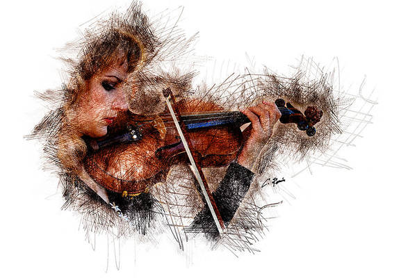 Digital Art - The Violinist by Charlie Roman