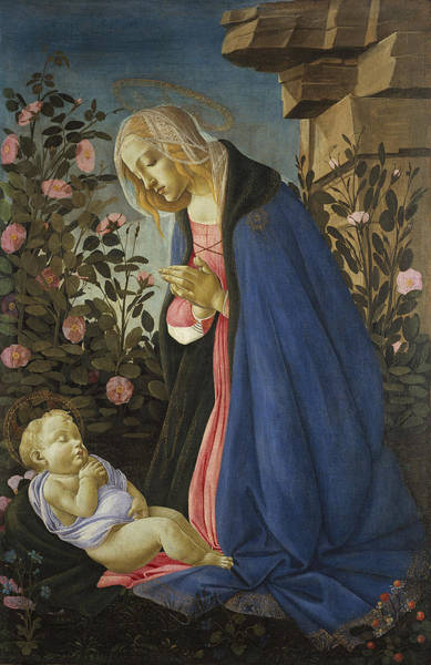 Botticelli Wall Art - Painting - The Virgin Adoring The Sleeping Christ Child by MotionAge Designs