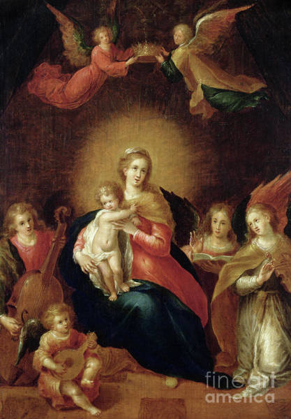 Wall Art - Painting - The Virgin And Child With Music Making Angels by Frans II the Younger Francken