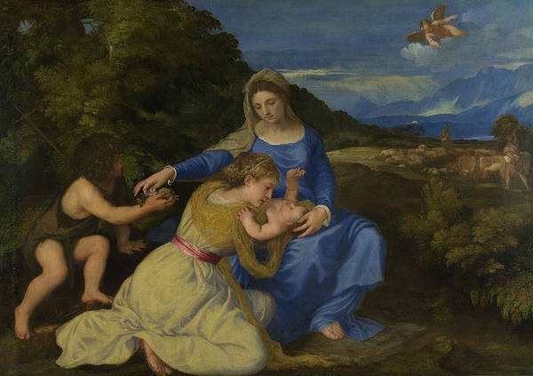 Titian Painting - The Virgin And Child With The Infant Saint John And A Female Saint Or Donor  by Titian
