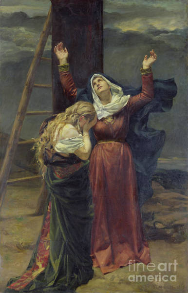 Mourning Painting - The Virgin At The Foot Of The Cross by Jean Joseph Weerts